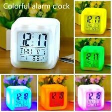 Electronic Alarm Clock Battery Silent Home Desk Bedside White Screen Colorful