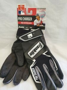 New Pair Adult Franklin 21380F4 Pro Charger Baseball Batting Glove Black Size L