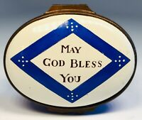 "Halcyon Days English Enamels ""May God Bless You"" Trinket Box"