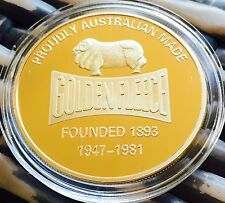 40mm Australian Golden Fleece Original Petroleum Coin Finished In 24k GOLD .999