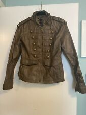 MISS SIXTY BROWN FAUX LEATHER ZIP UP JACKET SIZE SMALL