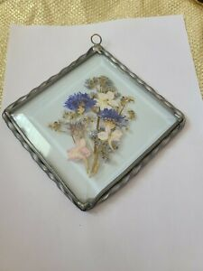 Beveled Glass Sun Catcher With Pressed Flowers Pewter Frame Free Shipping