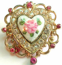 CORO GUILLOCHE HEART BROOCH / PIN VINTAGE 1940'S Estate Jewelry Vintage
