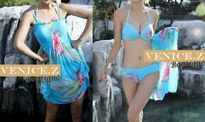 SALE!! BNWT 3pc Set Floral Bikini Matching Shirred Dress Blue Size 6