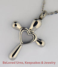 """Cross with Open Heart Cremation Jewelry Pendant Keepsake Urn and 20"""" Necklace"""