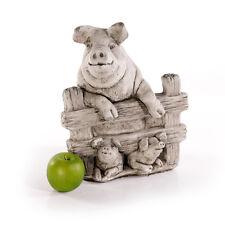 Steinfigur Dekofigur Tierfigur NEU 33cm 10kg Schwein Steinguss Skulptur Deko