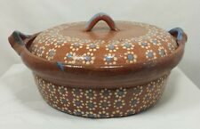 VINTAGE MEXICAN POTTERY CASSEROLE DISH OLD COVERED BOWL