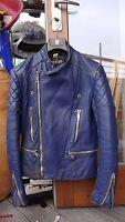 vintage FIELDSHEER blue biker leather jacket motorcycle silver zips size XS-S