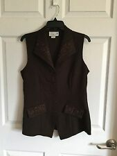 Woman's Medium Brown Button Down Vest  Embroidery On Collar And Pockets