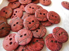 lot 20 boutons rouge bismark effet craquelé 2 trous couture mercerie 1,5 cm TA