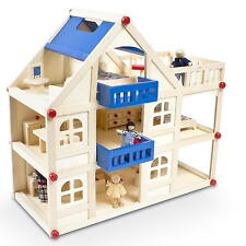 Puppenhaus mit Zubehör Puppenstube Puppenhaus Holzspielzeug + 16 Möbel 4 Puppen