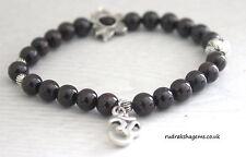Garnet Power Beads OM LOTUS Charm Healing Love Chakra Bracelet Crystal Gemstone