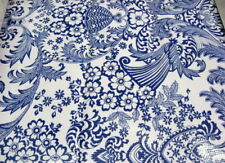 BLUE PARADISE RETRO LACE FLORAL PRINT VINYL OILCLOTH SEW CRAFT DECOR FABRIC BTY