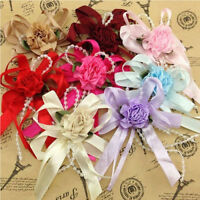 5/15/40pcs Satin Ribbon Flowers Bows Rose Bead  Appliques Craft Wedding Decor DI