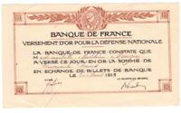 Banque de France Versement D'Or Pour La Defense  Nationale
