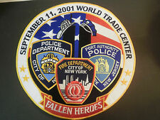 "Huge 10"" PATCH Fallen Heroes 9-11 Fire Police Dept. NEW We Will Never Forget New"