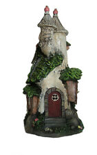 Solar Garden Fairy Tree Trunk Castle House Outdoor Light Up Fairies Elves Home