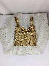 Small Miracles Girls Gold Color Dress Size M Sleeveless Stars Shapes Bin80#29