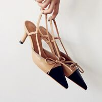 Women Leather Two-Tone Bow Tie Slingback Mid Heel Kitten Court Shoes Pointed