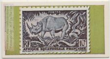 Rhinoceros On French Equatorial Africa Postage Stamp Vintage Ad Trade Card