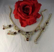 Vintage Amber Yellow Rhinestone Necklace Earrings  Bracelet   Set   CAT RESCUE