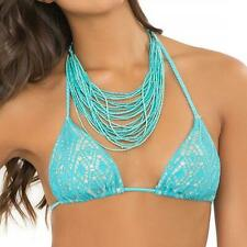 NWT $86 Luli Fama Miami Nights Crochet Triangle Bikini Top Medium M Aruba Blue