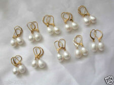 Wholesale 10 Pairs Natural 8-9MM White Freshwater Pearl Leverback Earrings
