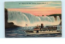 *Maid of the Mist Tour Steamer Boat Niagara Falls NY Vintage Linen Postcard C28