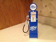 Ford Benzol Gas Pump Bank MEtal Plastic Goldenwheel  China W/ Key  Blue
