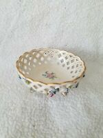 ANTIQUE SCHIERHOLZ Reticulated Bowl Gold Trim Floral Germany
