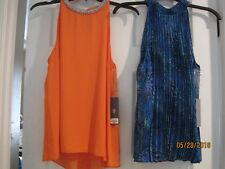 TWO NEW tags Jennifer Lopez Tops - Orange Chiffon Top & Blue Pleated Tank Sz S
