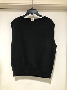 Vintage 60s Sportswear Black Sleeveless Pullover Sweatshirt L Made in USA 50/50
