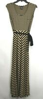 Ann Taylor Petite Womens Tan & Black Stripe Scoop Neck Sleeveless Dress XXSP