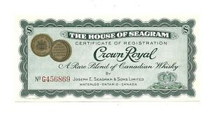 House of Seagram - Engraved certificate of registration