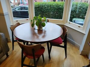 1950s E Gomme G Plan Librenza 'Tola and Black' circular table butterfly chairs