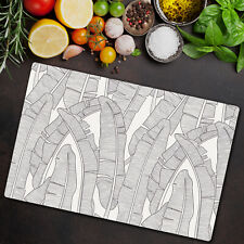 Glass Chopping Board banana leaves Simple black & white Floral 80x52