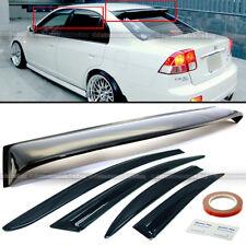 For 01-05 Civic 4DR Black Tint Mugen Style Wavy Window Visors + Rear Roof Visor