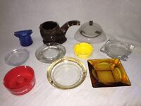 Lot of 10 Vintage Ash Trays Pipe, Hat, Color, Advertising, Glass, Plastic, Smoke