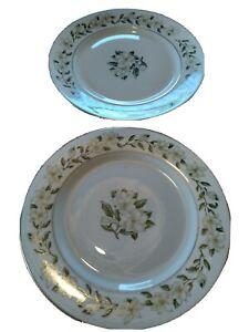 "Princess China Tru-Tone Bridal Wreath Pattern Set Of 2  8"" Salad Plates USA"