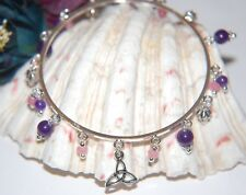 Pretty PURPLE & PINK JADE BANGLE Bracelet ~ Celtic Charm Gemstone Dangles