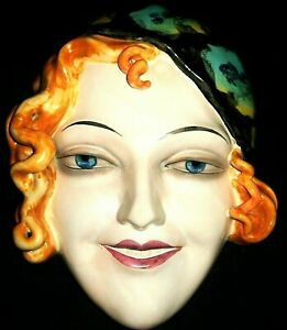 ANTIQUE GERMAN ART DECO WILLIAM GOEBEL LADY FLAPPER PORCELAIN MASK FIGURINE