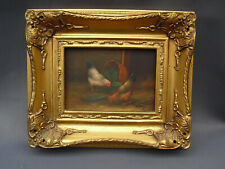 G Roy vintage oil painting of chickens hens in ornate gilded frame small size