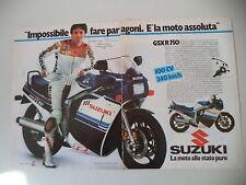 advertising Pubblicità 1985 MOTO SUZUKI GSX 750 R e FRANCO UNCINI