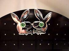 mens/womens green crystal eyes playboy bunny stud earrings silver plated