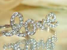 Vintage 80's to Mod Rhinestone 2 Finger Love Ring Adjust. Size Silver tone 464s7