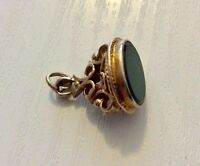 Beautiful Early Vintage Fully Hallmarked Solid 9CT Gold Green Stone Seal Fob