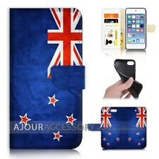 ( For iPod Touch 6 ) Wallet Flip Case Cover AJ40007 New Zealand Flag