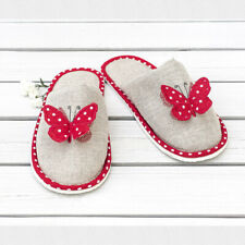 Women's Gray Closed Toe Slippers with Red Butterfly Polka Dot Pattern