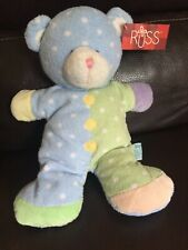 "Russ Blue Green Polka Dot Jiggles Bear Rattle Plush Stuffed Baby Toy 11""  *6*"