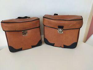 Paire de sacoche marron vintage simili cuir Mobylette / solex / vélo ancienne